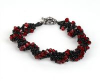 Spiral Rope Crystal Beadwork Bracelet Jewellery Making Kit with SWAROVSKI® ELEMENTS crystal beads Red and Black